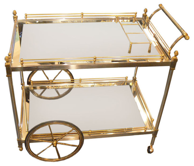Brass and Nickle Tea/Bar Cart modern bar carts