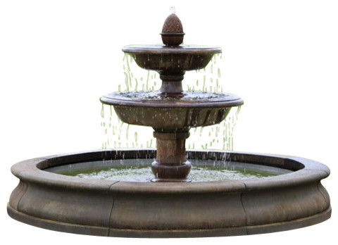 Beaufort Outdoor Water Fountain, Aged Limestone traditional-outdoor-fountains-and-ponds