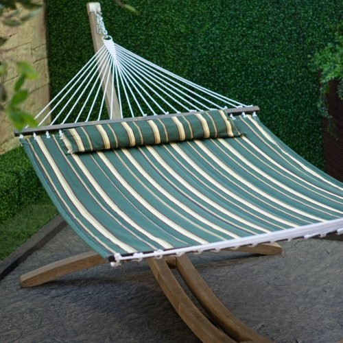 Take a load off this summer by yourself or with a lounging mate. This large quil contemporary hammocks