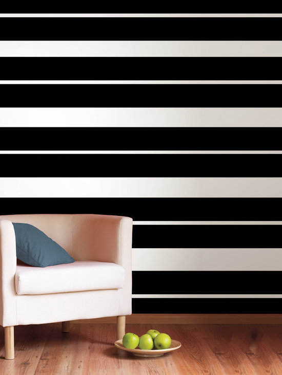 """Blackjack Stripes Set of Wall Decals - What else can we say...it's black! This pack comes with four 6.5"""" wide Blackjack stripes, a total of 64' long. All WallPops are repositionable and always removable."""