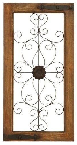 Wooden Auburn Tinged and Metal Wall Panel with Floral Design contemporary-wall-decor