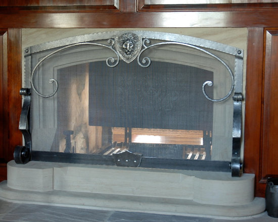 Fireplaces - Custom designed, hand forged, wrought iron fireplace screen and hearth.