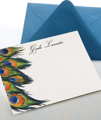 25 Personalized Peacock Cards traditional-desk-accessories