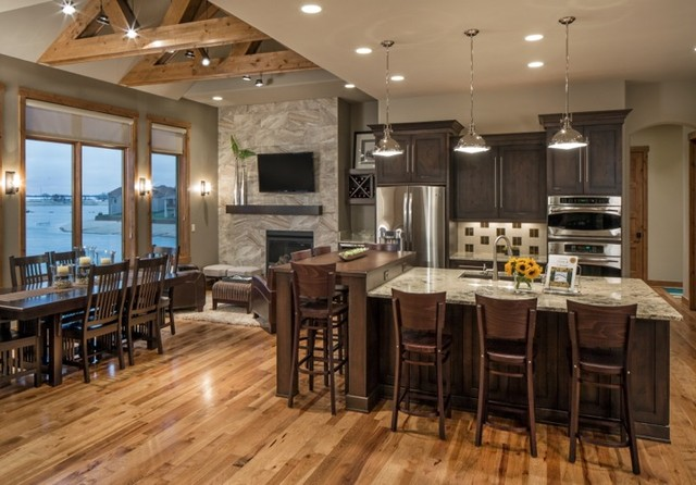 Rustic modern lake house transitional kitchen omaha by core concepts cabinets design - Easy transitional home design ...