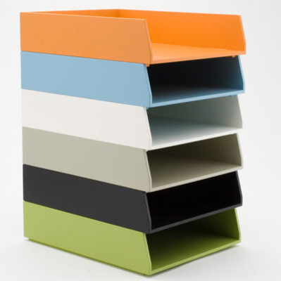 see jane work basic letter trays contemporary desk With colored stackable letter trays
