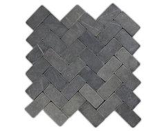 Grey Herringbone Stone Mosaic Tile traditional-tile
