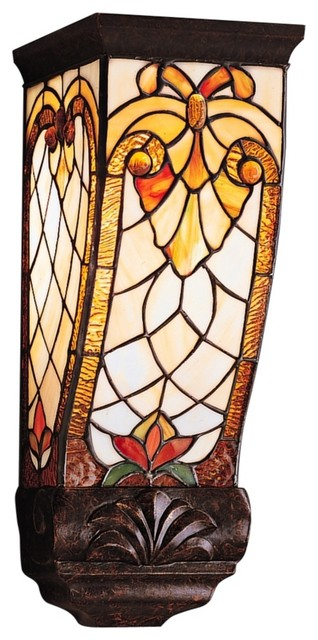 "Country - Cottage Elmbridge Tiffany Style 15"" High Wall Sconce"