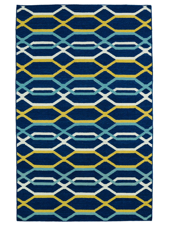 Kaleen - Kaleen Glam Collection GLA01-22 8' x 10' Navy - The Glam collection puts the fab in fabulous! No matter if your decorating style is simplistic casual living or Hollywood chic, this collection has something for everyone! New and innovative techniques for a flatweave rug, this collection features beautiful ombre colorations and trendy geometric prints. Each rug is handmade in India of 100% wool and is 100% reversible for years of enjoyment and durability.