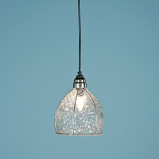 wire wrapped recycled glass pendant pendant lighting