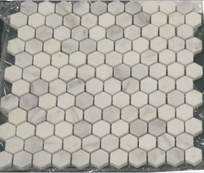Carrara Marble Hexagon Mosaic Tile traditional bathroom tile