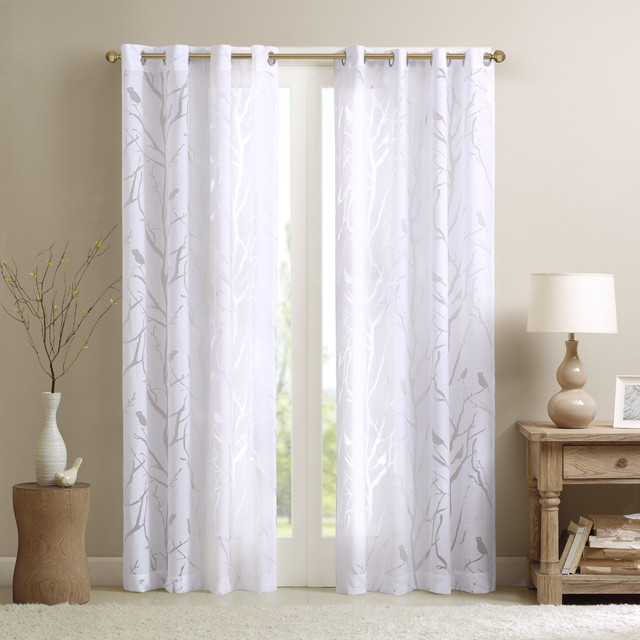 Madison Park Vina Sheer Bird Curtain Panel Contemporary