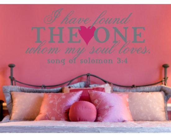 Wall Lettering Designs - Romantic way to add personality to your master bedroom. Available in 44 colors to coordinate with your décor.