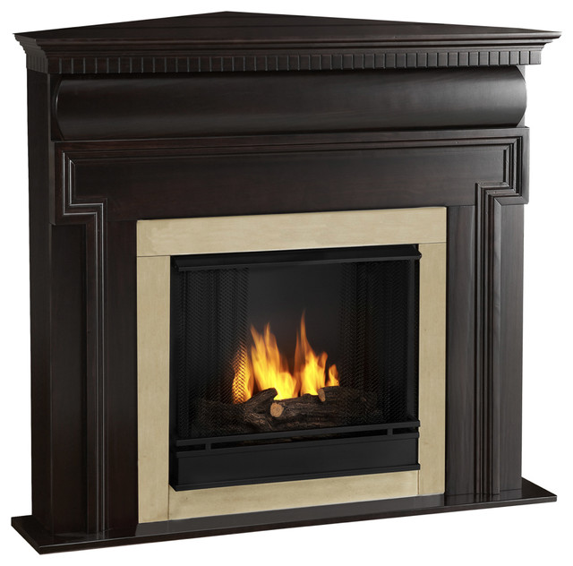 Mt vernon real flame dark walnut ventless gel corner for Contemporary ventless gas fireplaces