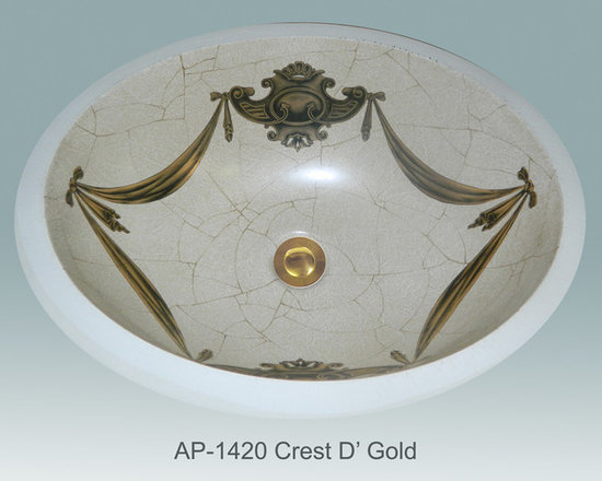 "Hand Painted Undermounts by Atlantis Porcelain - ""CREST D' GOLD"" Shown on AP-1420 white Monaco Medium undermount ID/17-1/4""x14-1/4"". This design is available in any of our sinks."