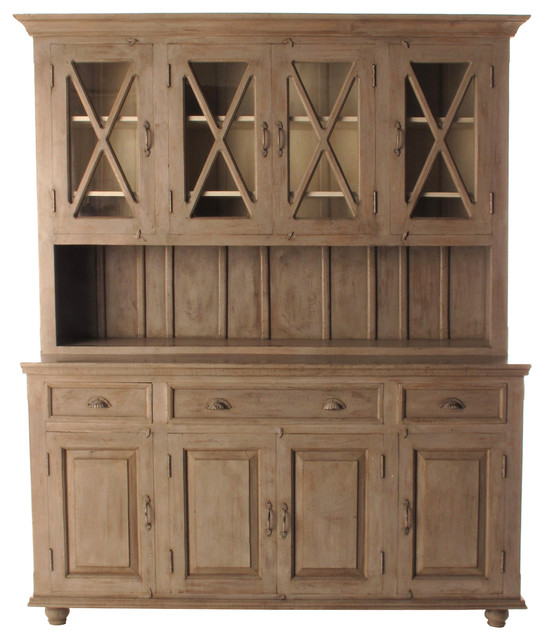 French Country Plantation 4 Door Hutch Cabinet, Large - Traditional - Storage Cabinets - by ...