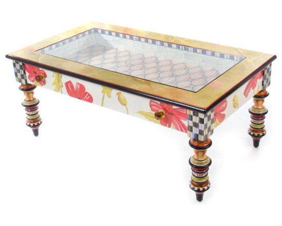 "Poppy Keepsake Coffee Table | MacKenzie-Childs - Our Keepsake Tables recall an earlier era, when trinkets and curiosities would be kept under glass for viewing. Flip open the drawer front and place your mementos on the  tufted"" ticking-stripe interior for one and all to marvel. Hand decorated with a plethora of patterns: blooming red poppies, Courtly Checks® and Stripes, faux marble and tortoise, golden accents, and crimson-and-chartreuse stripes."