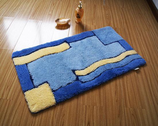 Intricate Yellow Blue Grid Design non-slip Bath Mat -