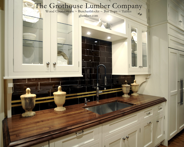 Grothouse Walnut Solid Wood Custom Countertop traditional-kitchen-countertops