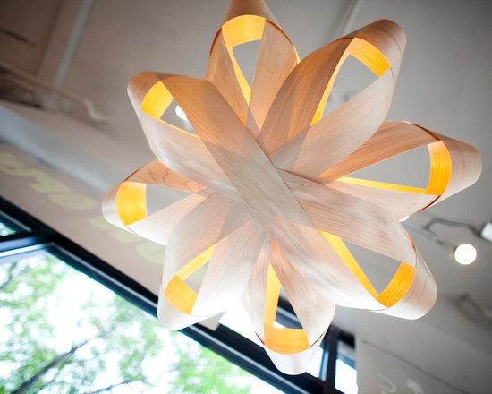 Lighting - Wood veneer pendant ceiling fixture