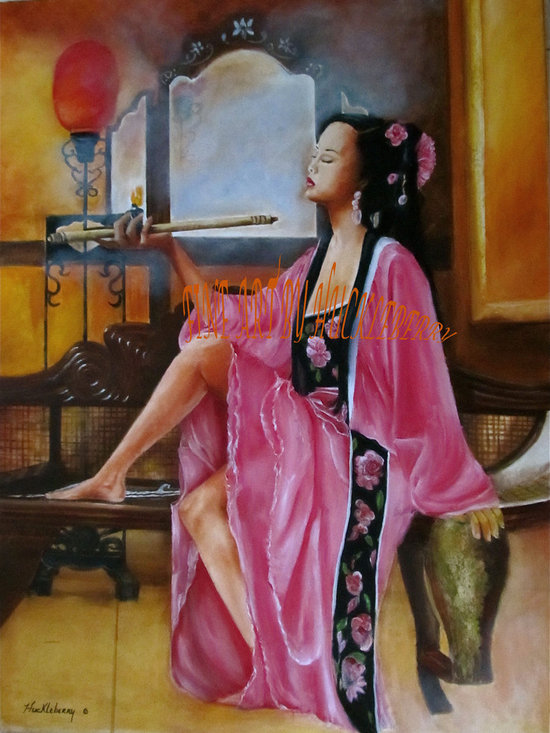 fineartbyhuckleberry.com - Asian Beauty with Opium Pipe is an Original painting by artist Huckleberry (aka.) Price is for reproduction, Original is by bid see: fineartbyhuckleberry.com 3 ft x 4 ft. Designers and Decorators, step out from the crowd, introduce fine art again with all its skill and refinement as a true investment.