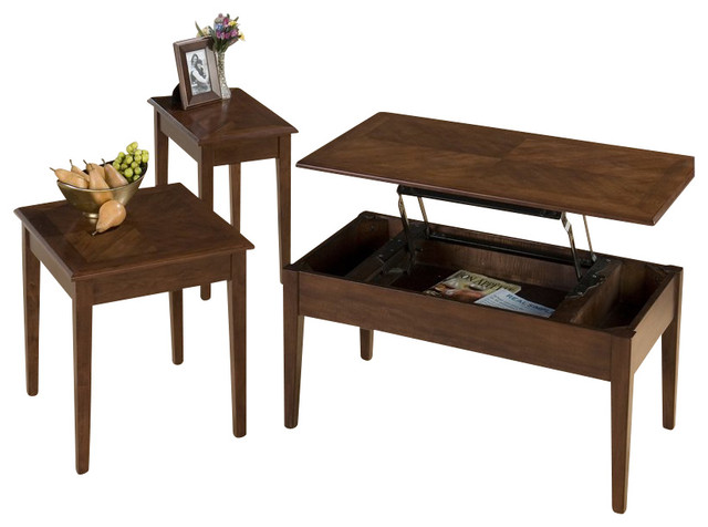 Jofran boise wood top rectangular cocktail table set with lift top in cherry transitional Jofran lift top coffee table