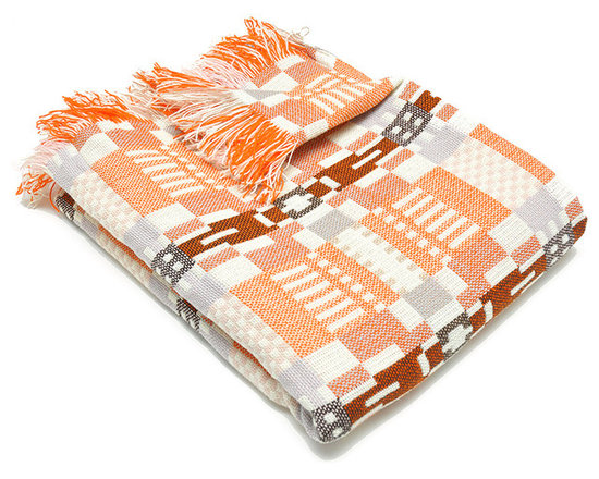 Donna Wilson, SCP - Nos Da Throw - Coral/Almond - Donna Wilson, SCP - Donna Wilson, a genius when it comes to woven home accessories, created these wonderfully bright and cheery throws based on a traditional plaid pattern. Each piece is made from 100% wool and is spun and dyed in England and then double woven in Wales by a traditional Mill.