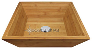 Polaris p198 Bamboo Vessel Bathroom Sink with Chrome Drain modern-bathroom-vanities-and-sink-consoles
