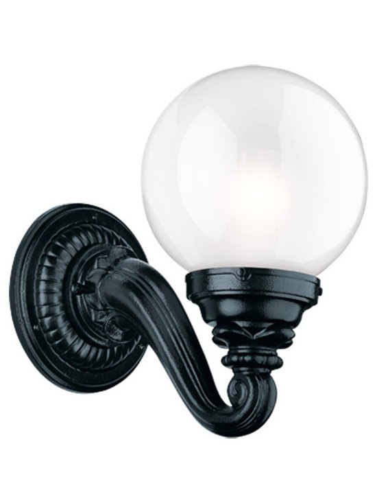 Rejuvenation: Exterior Outdoor Lighting - The Cascadia. A large, Beaux Arts style light in powder-coated black enamel. Great for stately homes and commercial applications. Alternate shade choices available.