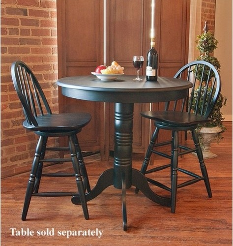 24 Quot Swivel Windsor Barstool In Antique Black Modern