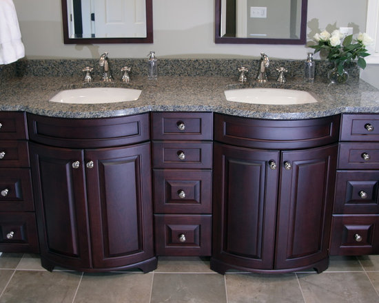 Bathroom Remodel - Custom birch cabinet with natural cherry stain