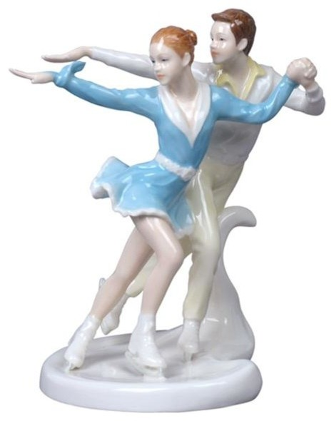 6.75 Inch Porcelain 2 Figures Ice Dancers Perform Crossovers eclectic-decorative-objects-and-figurines