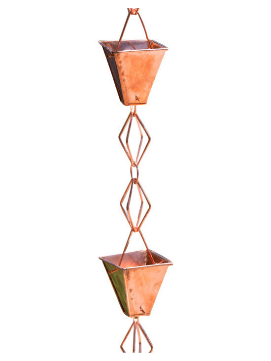Monarch International Inc - Copper Heirloom Rain Gutter Chain - Our beautiful Heirloom rain chain is made of very heavy gauge copper and has a thick folded lip on the rim adding to its character and form.