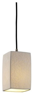 Justice Design Group Limoges POR-8816-15-LEAF-NCKL Small 1-Light Pendant - Nicke modern ceiling lighting