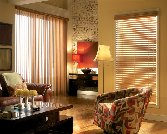 Vertical blinds contemporary living room brown brick for Living room vertical blinds
