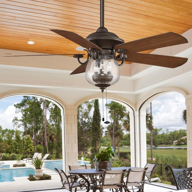 Indoor Outdoor Cloche Glass Ceiling Fan Ceiling Fans