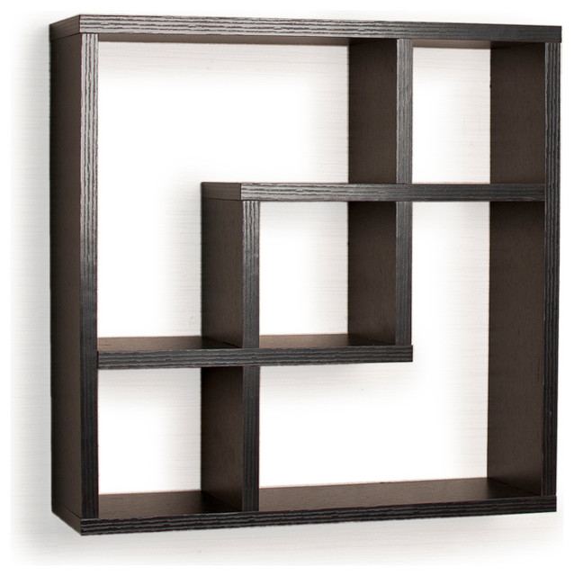 Geometric Square Wall Shelf With 5 Openings Contemporary