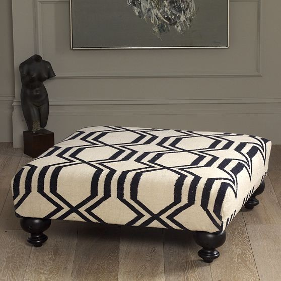 New Essex Dhurrie Ottoman-Geo modern-footstools-and-ottomans