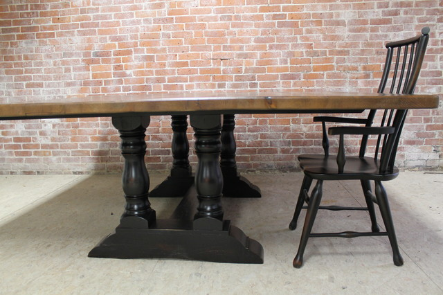 78 Square Reclaimed Farm Table With Trestle Base Rustic
