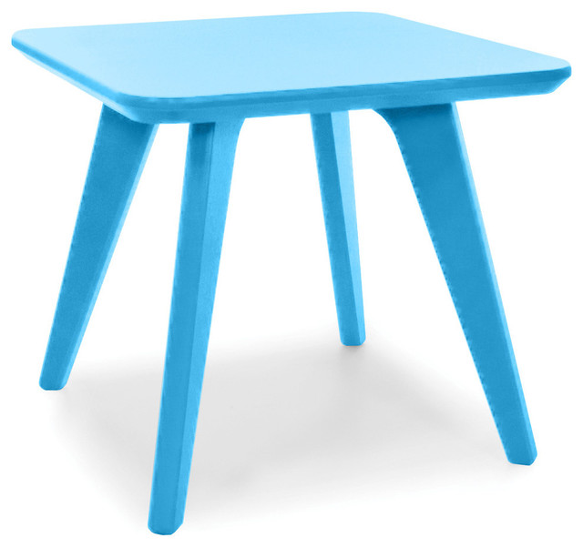 Satellite End Square 18 Table, Sky Blue contemporary-outdoor-tables