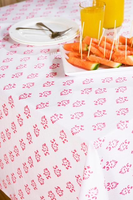 Pink  Floral Table Cloth tropical-dining-tables