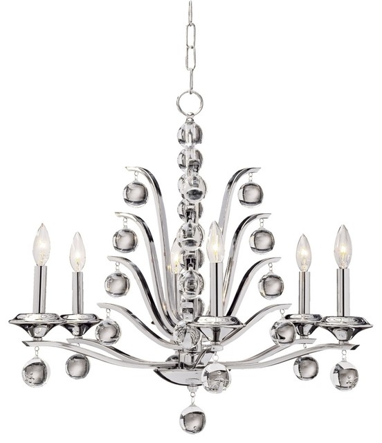 Contemporary Kane Collection Six Light Chandelier contemporary-chandeliers