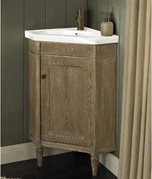 Corner Bathroom Sinks And Vanities : ... Corner Vanity & Sink Set - Weathered Oak modern-bathroom-vanities-and