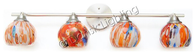 4 Shade Art Glass Multi Color Modern Vanity Bathroom Light - Modern - Bathroom Vanity Lighting ...