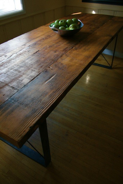 handmade table and benches reclaimed from by robrray dining room