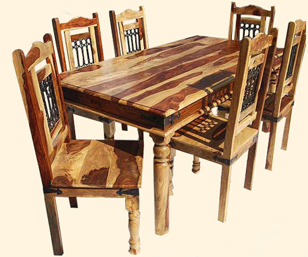 Classic solid wood 7pc dining room table and chair set for Solid wood dining room table and chairs