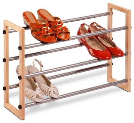 Tier Expandable Wood And Metal Shoe Rack contemporary-shoe-storage
