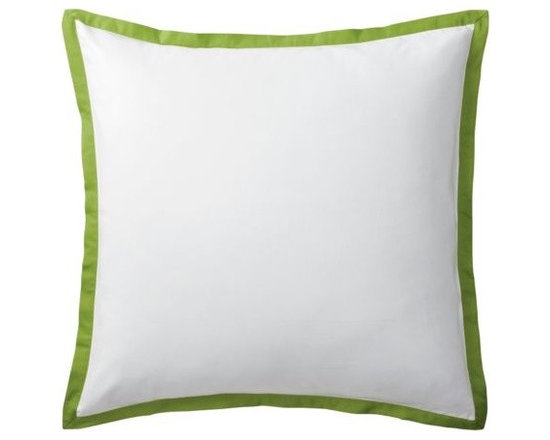 """Serena & Lily - Grass Border Frame Euro Sham - A clean, simple design for those who crave a quieter bed. Tailored from crisp white 300-thread-count 100% cotton sateen; finished with a 1"""" flange in grass."""