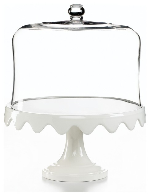 Martha Stewart Collection Serveware, Scalloped Cake Stand And Dome contemporary serveware