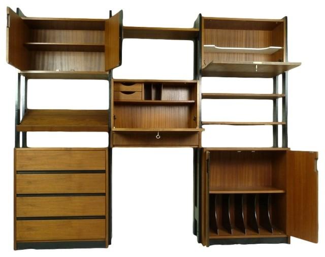 mid century modern free standing wall unit midcentury. Black Bedroom Furniture Sets. Home Design Ideas