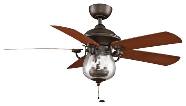 "52"" Fanimation Crestford Bronze Outdoor Ceiling Fan Farmhouse Ceilin"